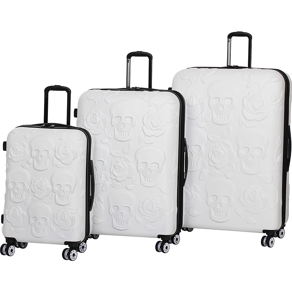 it luggage Skull Emboss 3 Piece Spinner Luggage Set White it luggage Luggage Sets
