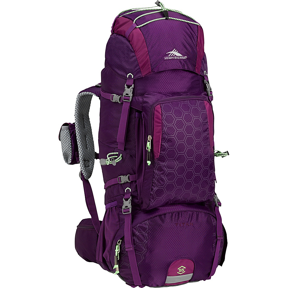 High Sierra Tech 2 Series Titan 55 Women's Frame Pack EGGPLANT/BERRY BLAST/LIME - High Sierra Day Hiking Backpacks