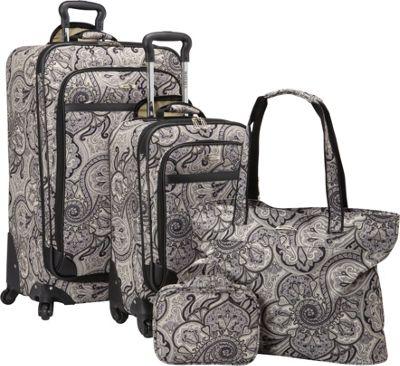 Waverly Boutique 4-Piece Luggage Set Shawl-onyx - Waverly Luggage Sets