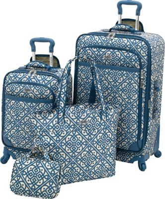 Waverly Boutique 4-Piece Luggage Set Aqua - Waverly Luggage Sets