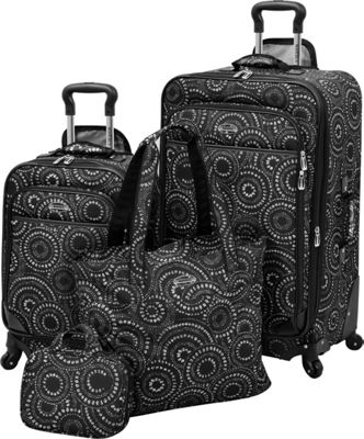 Waverly Boutique 4-Piece Luggage Set Black White Dot - Waverly Luggage Sets
