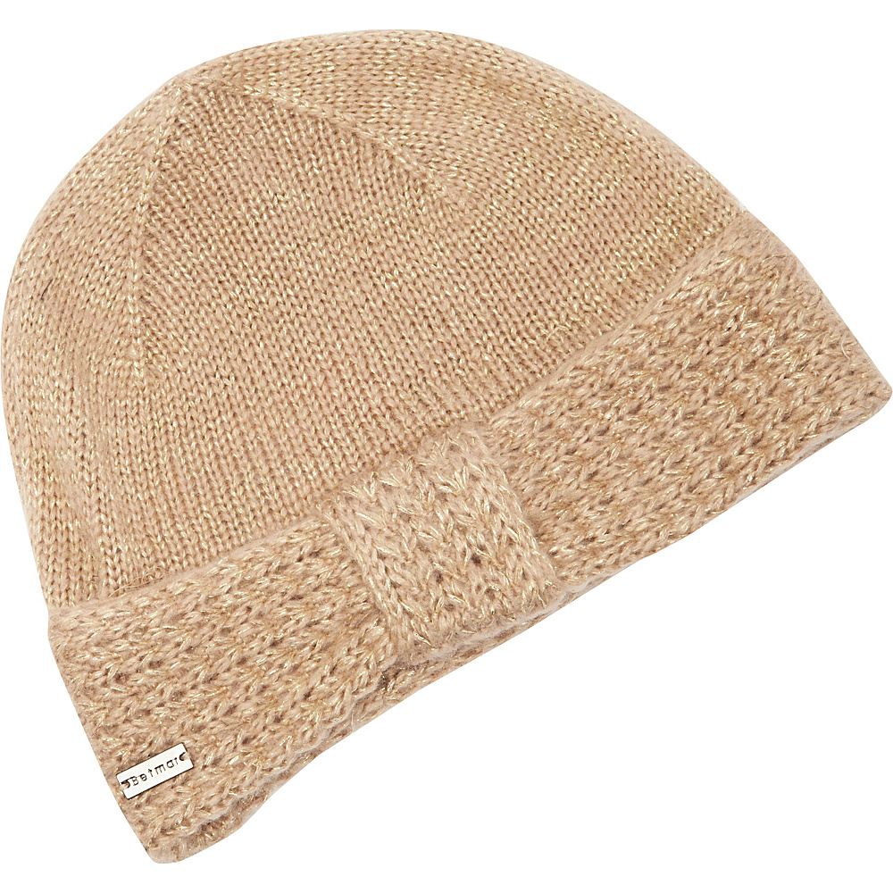 Betmar New York Turban Knit Beanie Taupe Gold Betmar New York Hats Gloves Scarves