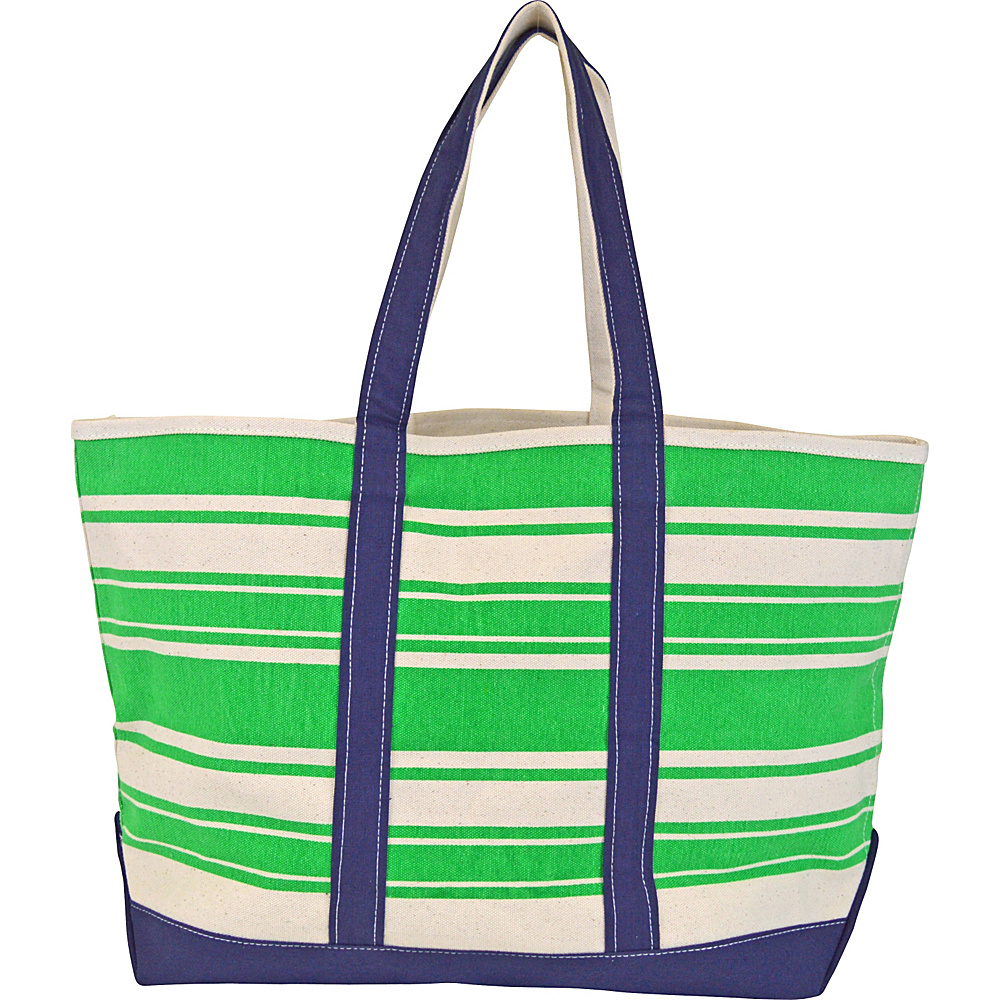 All For Color Canvas Tote Bag Green Stripe - All For Color All-Purpose Totes