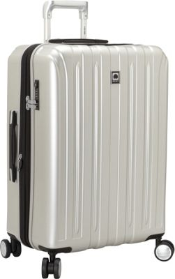 Delsey Helium Titanium 25 inch Spinner Trolley Silver - Delsey Hardside Checked