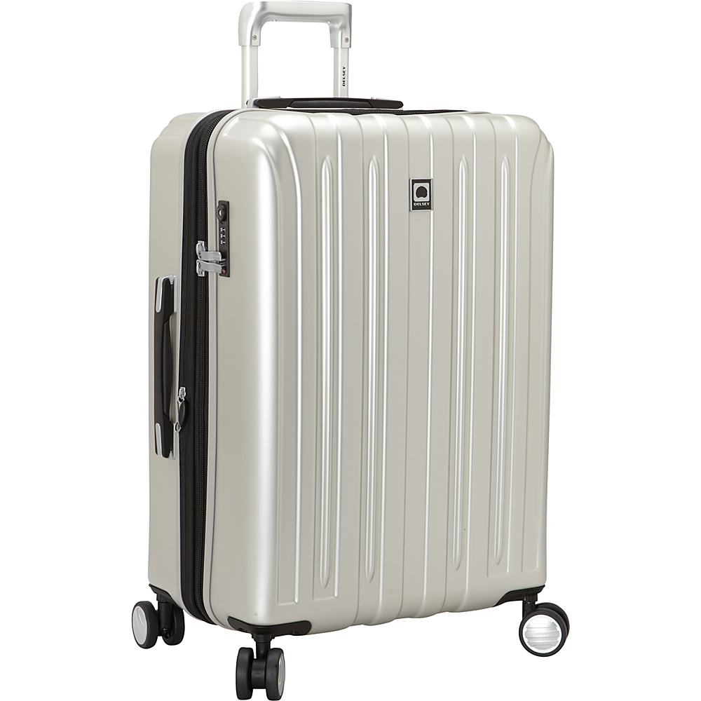 Delsey Helium Titanium 25 Spinner Trolley Silver Delsey Hardside Checked