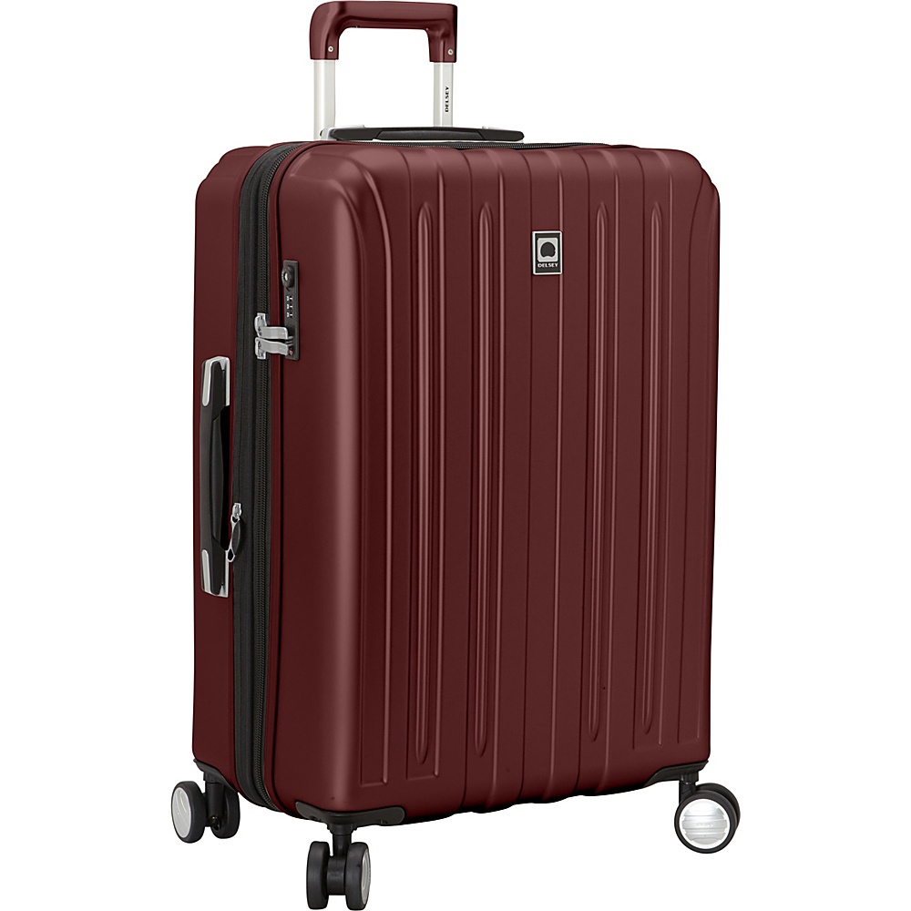 Delsey Helium Titanium 25 Spinner Trolley Black Cherry Delsey Hardside Checked
