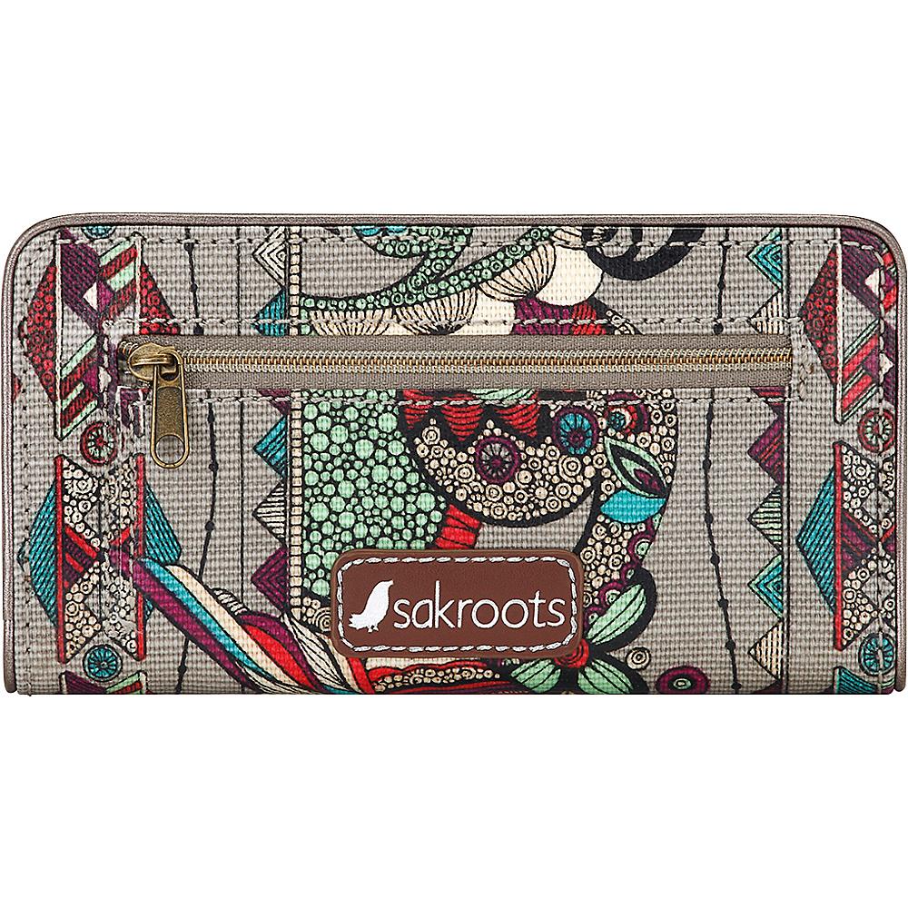 Sakroots Artist Circle Slim Wallet Charcoal Spirit Desert - Sakroots Womens Wallets - Women's SLG, Women's Wallets