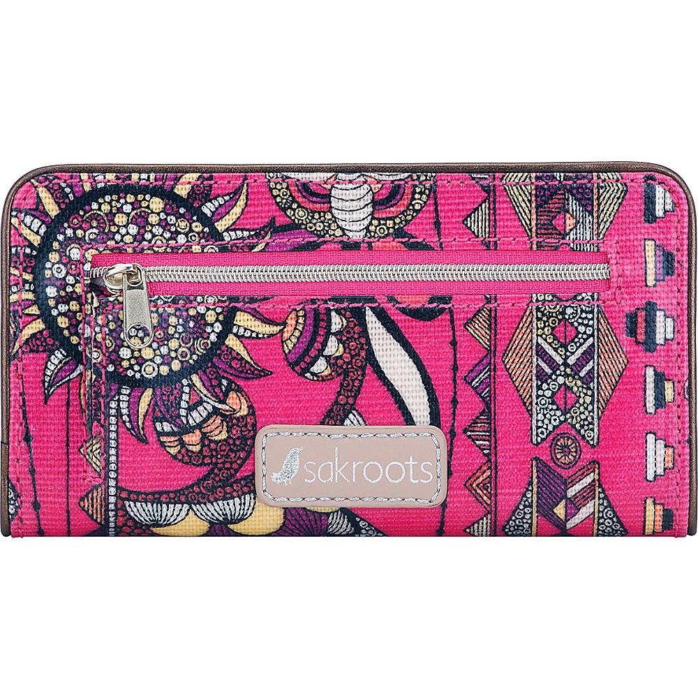 Sakroots Artist Circle Slim Wallet Fuschia Spirit Desert - Sakroots Womens Wallets - Women's SLG, Women's Wallets
