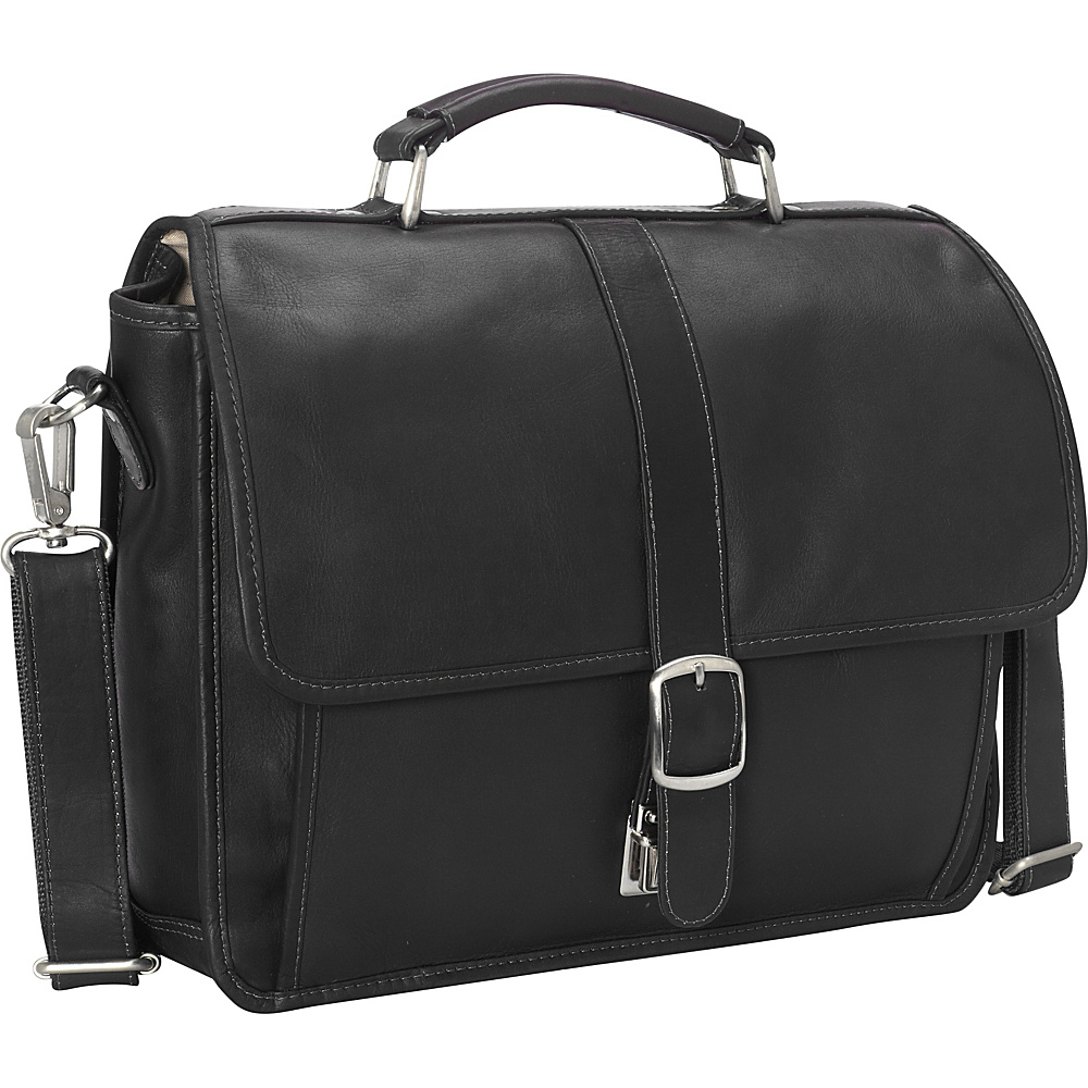 Piel Small Flap-Over Laptop/Tablet Brief Black - Piel Non-Wheeled Business Cases - Work Bags & Briefcases, Non-Wheeled Business Cases