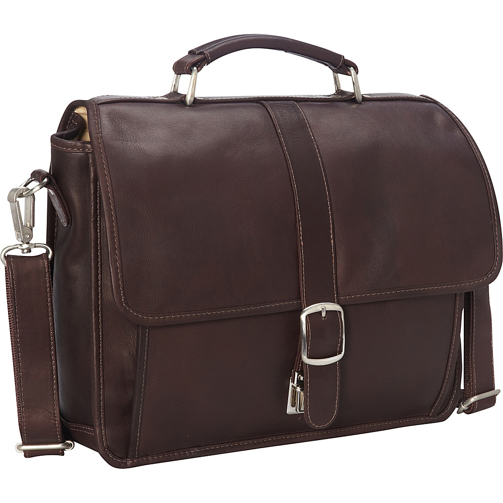 Piel Small Flap-Over Laptop/Tablet Brief Chocolate - Piel Non-Wheeled Business Cases - Work Bags & Briefcases, Non-Wheeled Business Cases