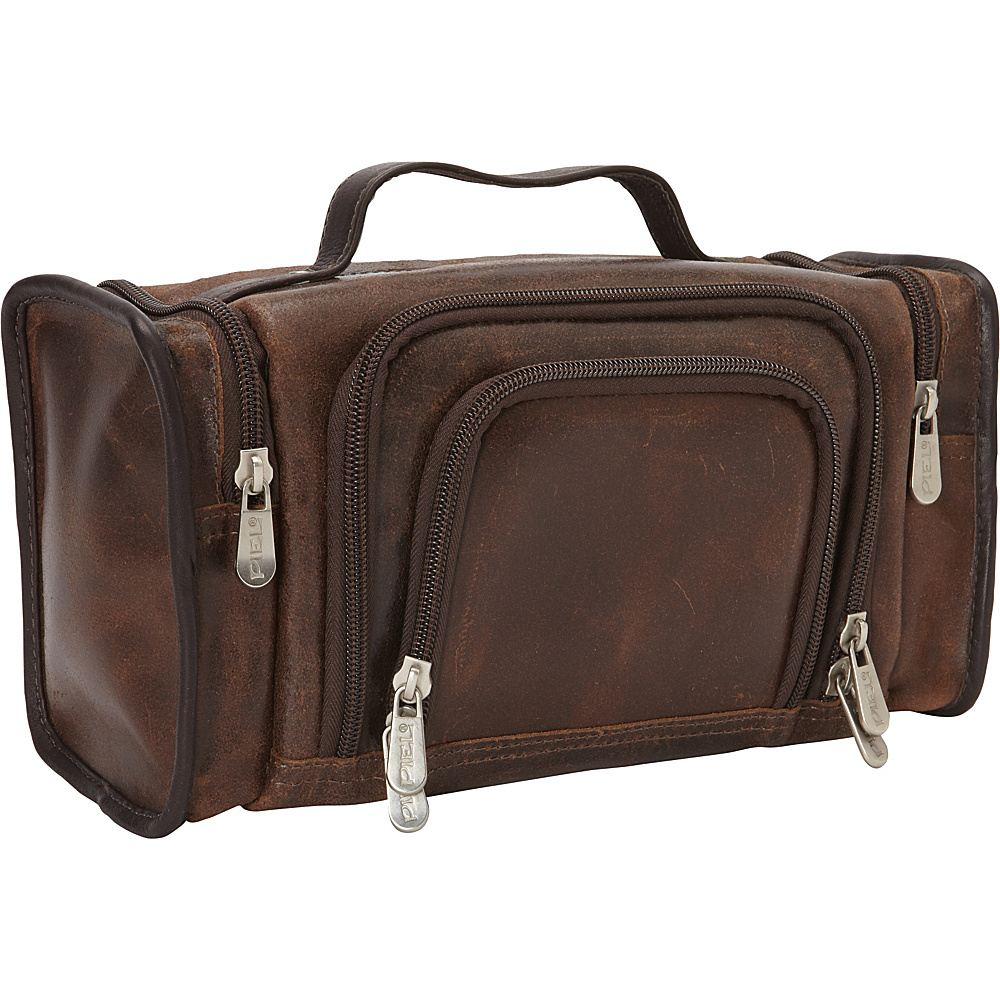 Piel Multi-Compartment Toiletry Kit Vintage Brown - Piel Toiletry Kits