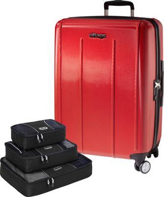 eBags Value Set:  EXO 2.0 Hardside 24 Spinner + Packing Cube - 3pc Set Red - eBags Hardside Checked