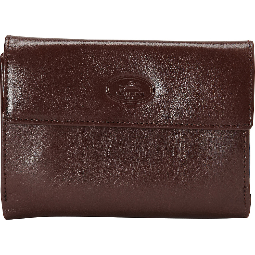 Mancini Leather Goods Ladies RFID Small Clutch Wallet Brown Mancini Leather Goods Women s Wallets