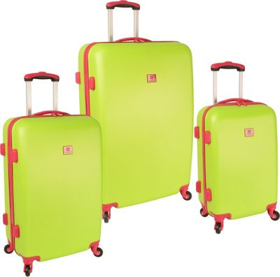 Anne Klein Luggage Palm Springs 3 Piece Luggage Set Lime Hibiscus - Anne Klein Luggage Luggage Sets