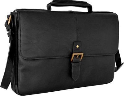 Hidesign Charles Leather 15 inch Laptop Compatible Briefcase Work Bag Black - Hidesign Non-Wheeled Business Cases