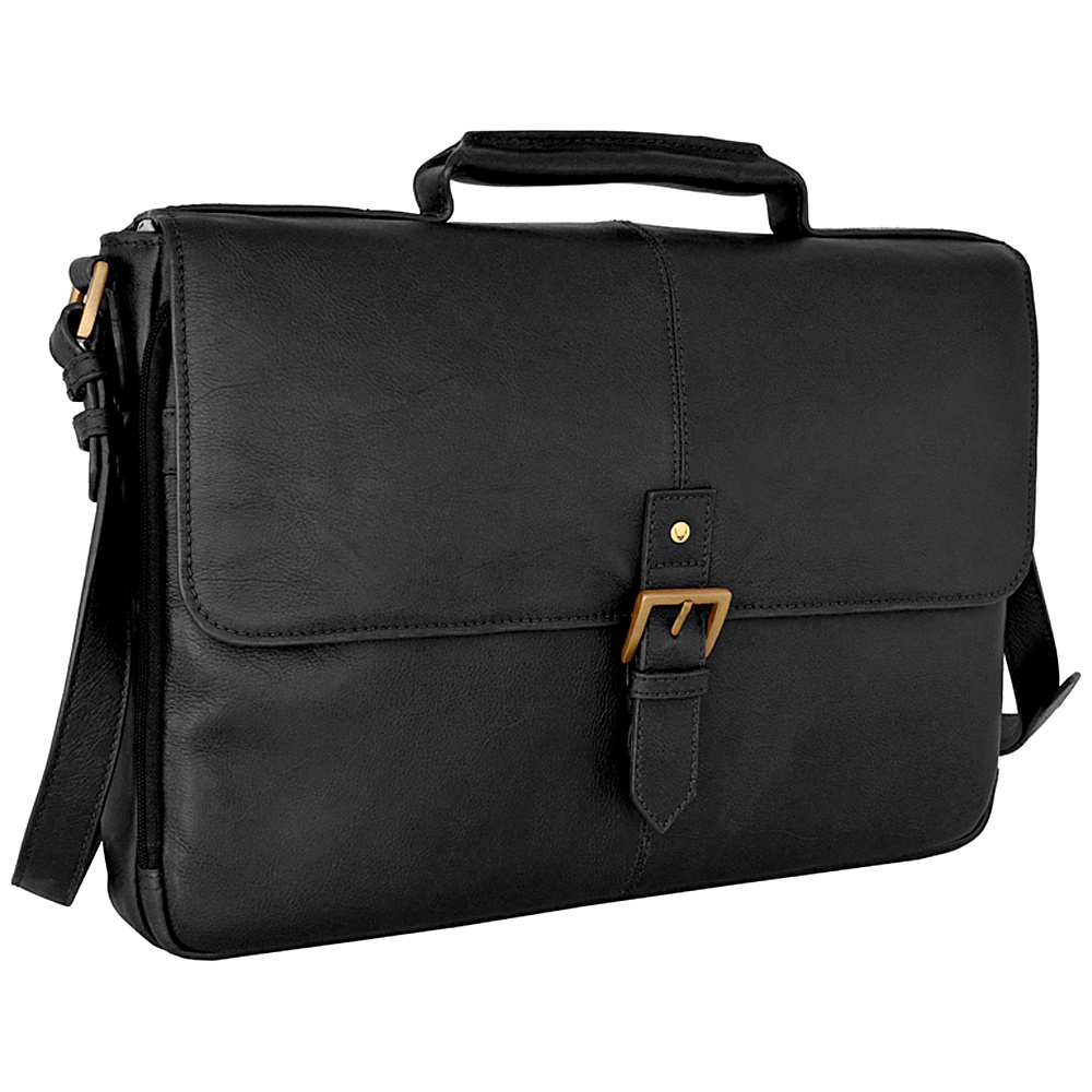 Hidesign Charles Leather 15 Laptop Compatible Briefcase Work Bag Black Hidesign Non Wheeled Business Cases