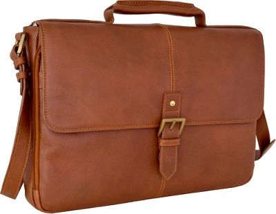 Hidesign Charles Leather 15 inch Laptop Compatible Briefcase Work Bag Tan - Hidesign Non-Wheeled Business Cases
