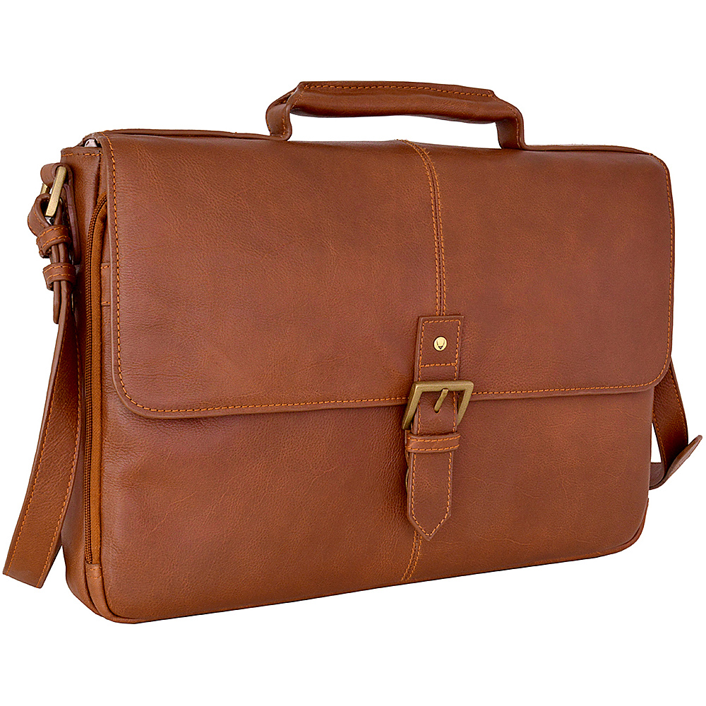 Hidesign Charles Leather 15 Laptop Compatible Briefcase Work Bag Tan Hidesign Non Wheeled Business Cases