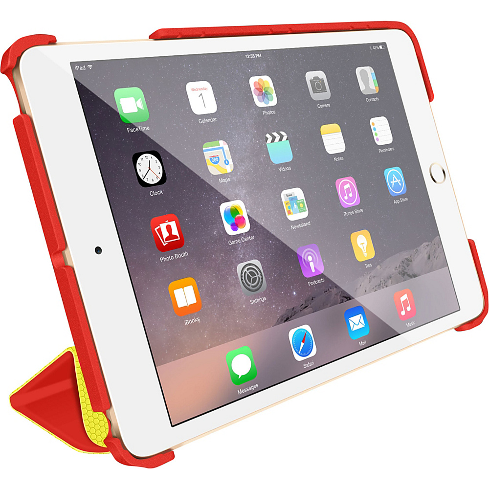 rooCASE Origami 3D Slim Shell Folio Case Smart Cover for Apple iPad Mini 3 2 1 Testarossa Red / Tangerine Yellow - rooCASE Electronic Cases
