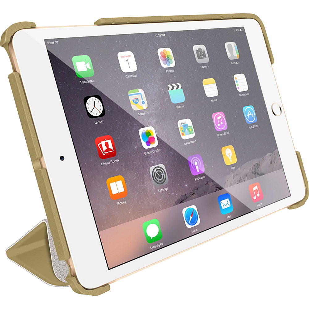 rooCASE Origami 3D Slim Shell Folio Case Smart Cover for Apple iPad Mini 3 2 1 Gold / Cool Gray - rooCASE Electronic Cases