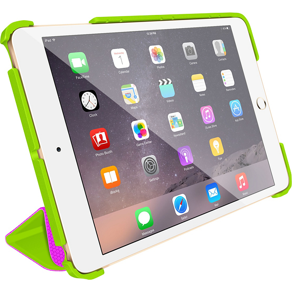 rooCASE Origami 3D Slim Shell Folio Case Smart Cover for Apple iPad Mini 3 2 1 Electric Green / Peach Pink - rooCASE Electronic Cases