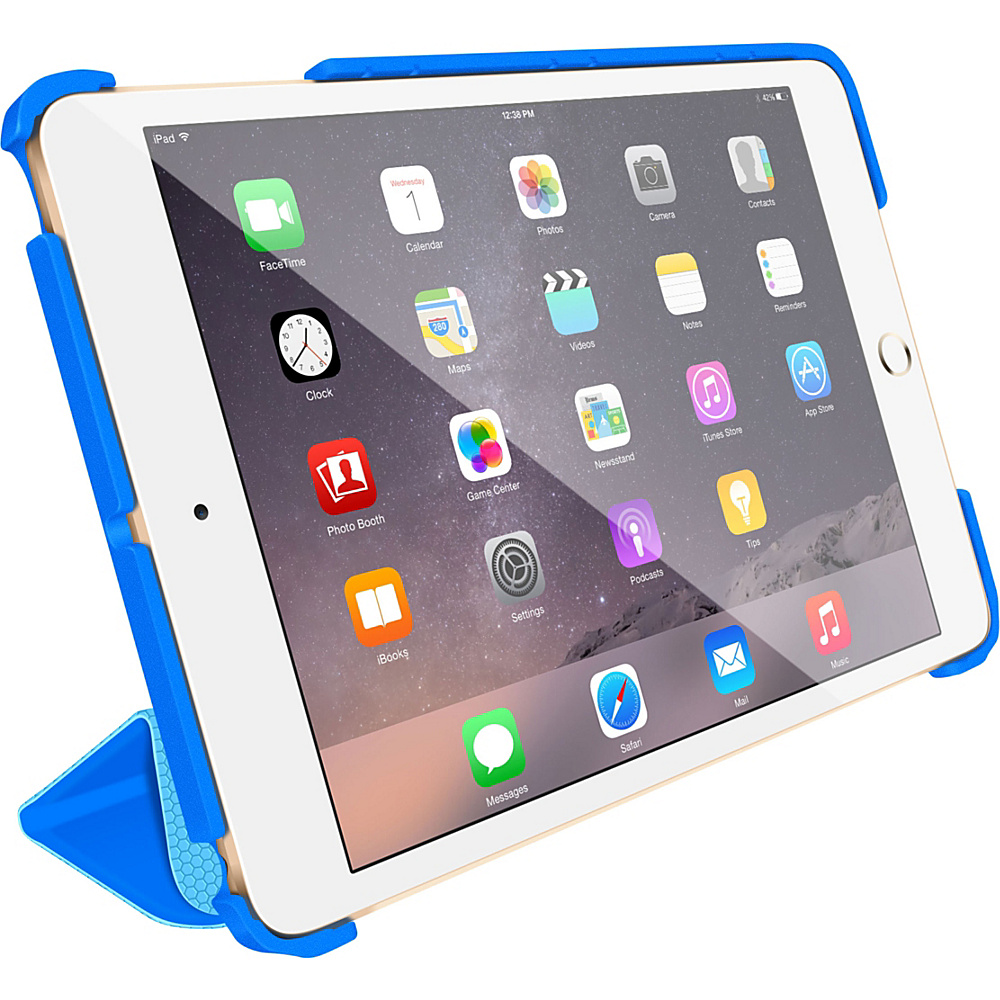 rooCASE Origami 3D Slim Shell Folio Case Smart Cover for Apple iPad Mini 3 2 1 Pacific Blue / Barbados Blue - rooCASE Electronic Cases