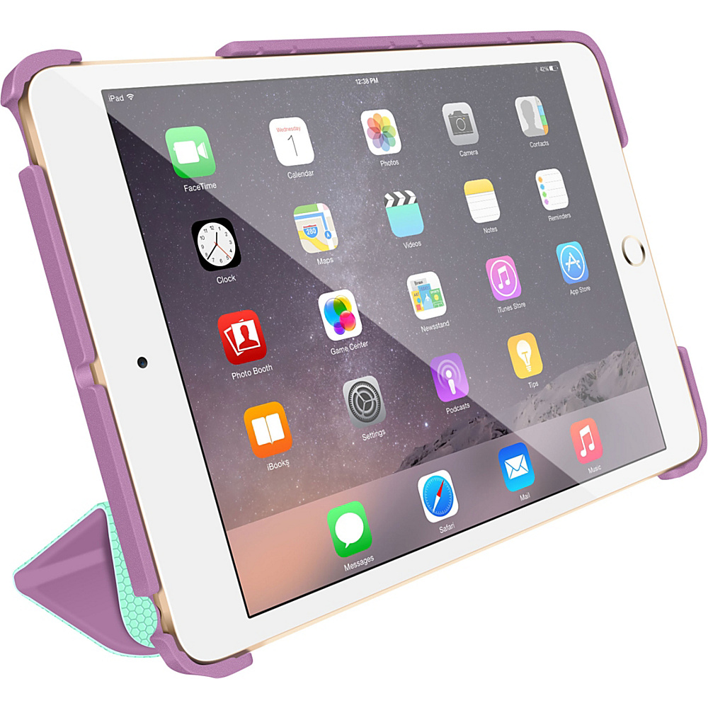 rooCASE Origami 3D Slim Shell Folio Case Smart Cover for Apple iPad Mini 3 2 1 Radiant Orchid / Mint Candy - rooCASE Electronic Cases