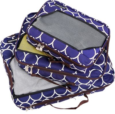 Jenni Chan Aria Park Ave Packing Cubes 3 Piece Set Navy - Jenni Chan Travel Organizers