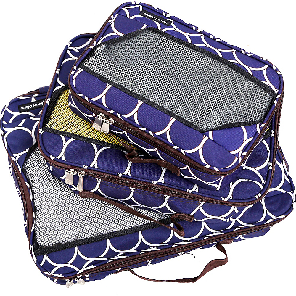 Jenni Chan Aria Park Ave Packing Cubes 3 Piece Set Navy Jenni Chan Travel Organizers
