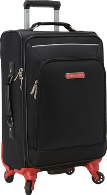 Swiss Cargo Petra 21 inch Spinner Luggage Black Silver - Swiss Cargo Softside Carry-On