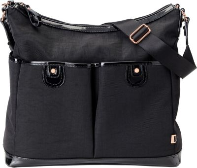 OiOi Two Pocket Hobo Diaper Bag Black - OiOi Diaper Bags