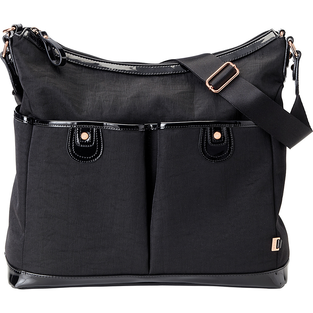OiOi Two Pocket Hobo Diaper Bag Black - OiOi Diaper Bags & Accessories
