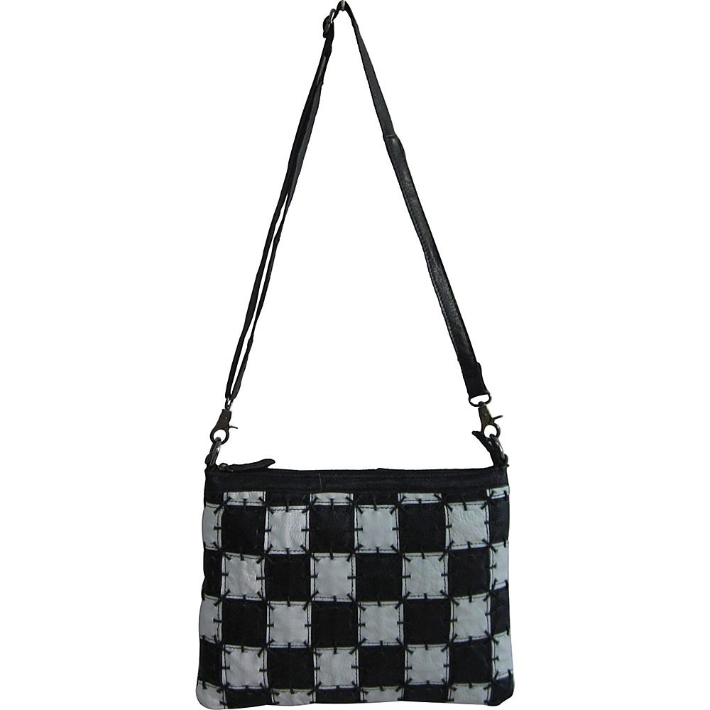 AmeriLeather Zigzagger Crossbody Black/White Square - AmeriLeather Leather Handbags - Handbags, Leather Handbags