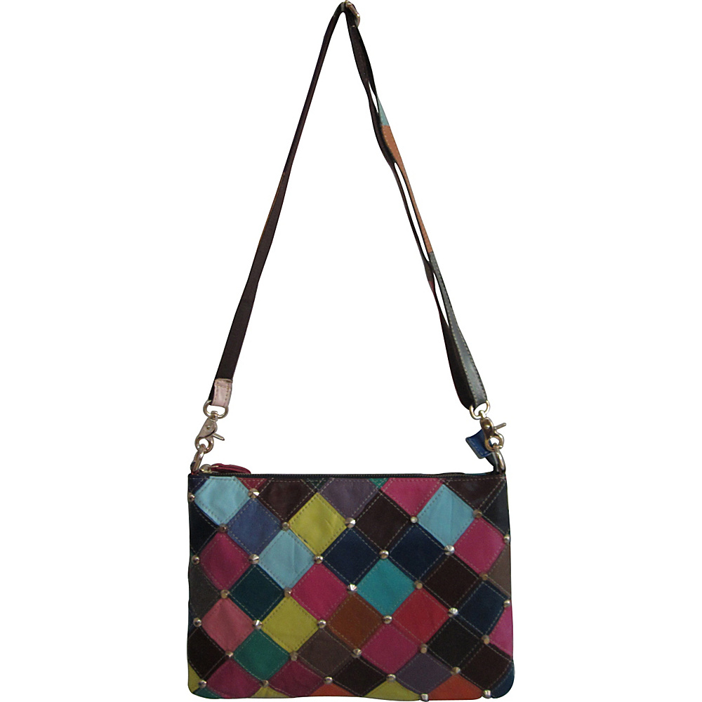 AmeriLeather Zigzagger Crossbody Rainbow Diamond - AmeriLeather Leather Handbags - Handbags, Leather Handbags