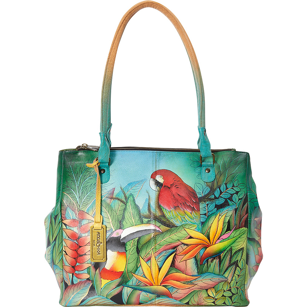 Anuschka Large Multi-Compartment Convertible Tote Tropical Bliss - Anuschka Leather Handbags