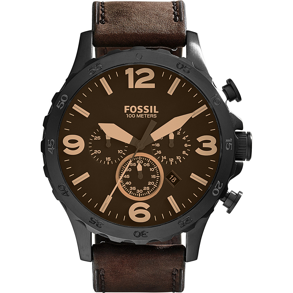 Fossil Nate Chronograph Leather Watch Brown/Black - Fossil Watches - Fashion Accessories, Watches