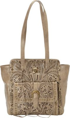 American West Shane Collection Zip-top Tote Sand - American West Leather Handbags
