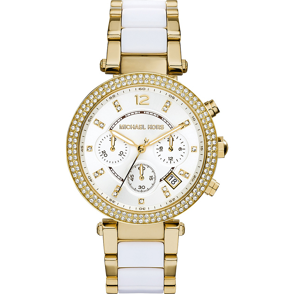Michael Kors Watches Parker Chronograph Stainless Steel Watch Gold White Michael Kors Watches Watches