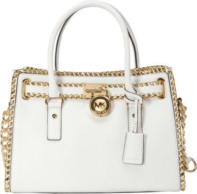 MICHAEL Michael Kors Whipped Hamilton E/W Satchel Optic White/Dark Gold - MICHAEL Michael Kors Designer Handbags