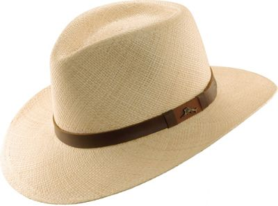 Tommy Bahama Headwear Panama Outback Hat with Leather Trim XXL - Natural - Tommy Bahama Headwear Hats/Gloves/Scarves