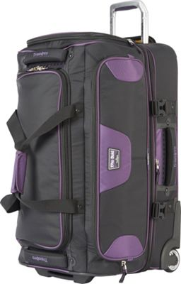 Travelpro T-Pro Bold 2.0 26 inch Rolling Duffle Black & Purple - Travelpro Softside Checked