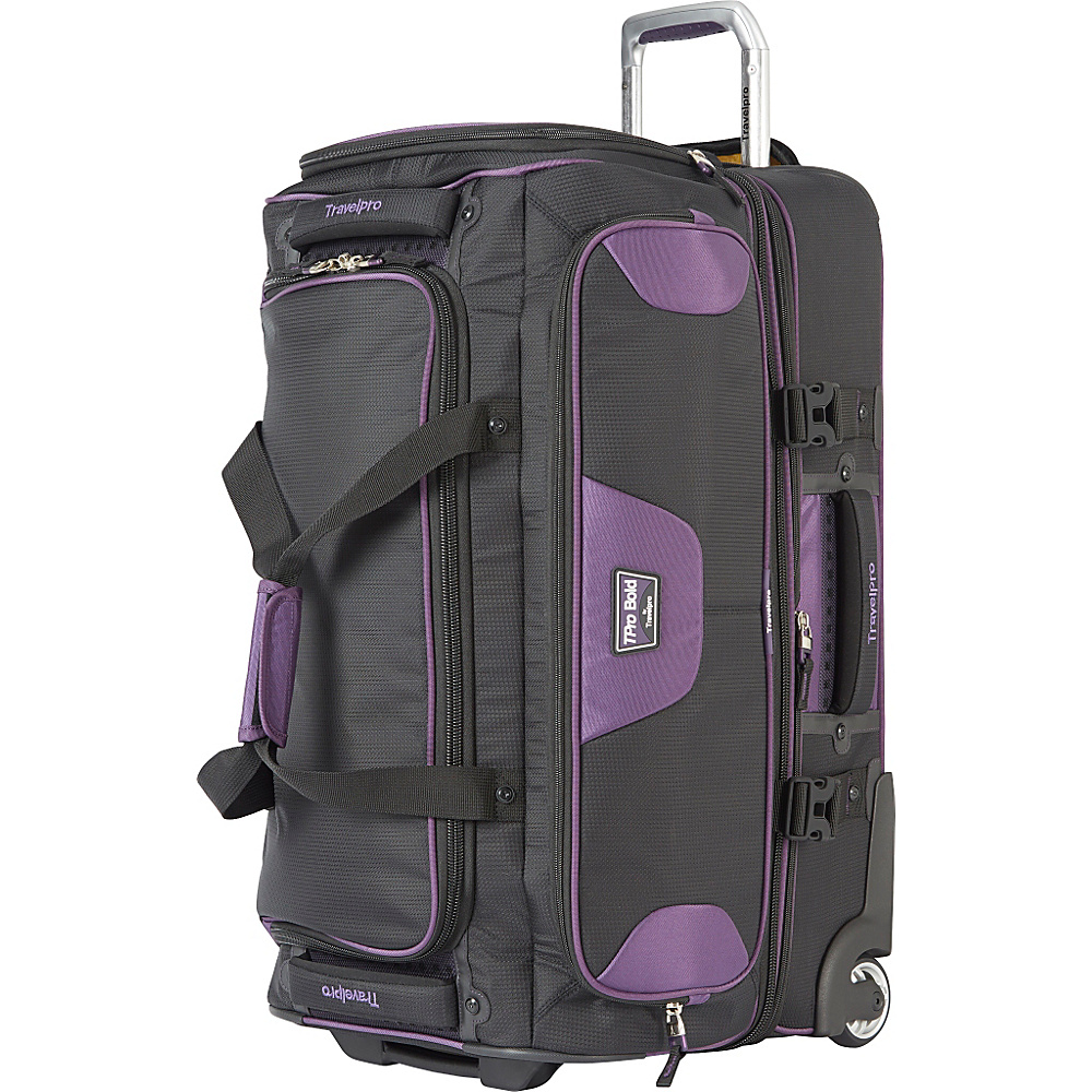 Travelpro T Pro Bold 2.0 26 Rolling Duffle Black amp; Purple Travelpro Softside Checked