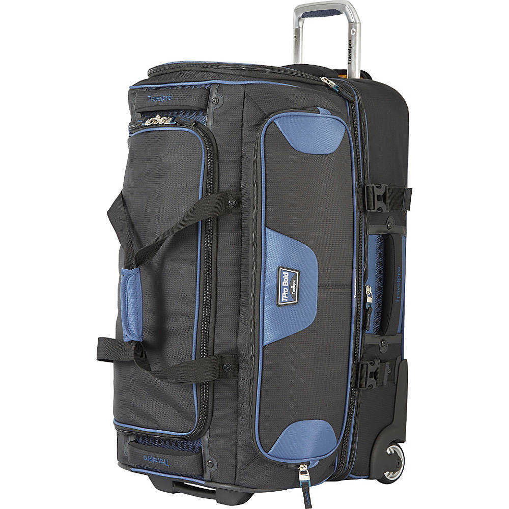"""Travelpro T-Pro Bold 2.0 26"""" Rolling Duffle Black & Blue - Travelpro Softside Checked"""