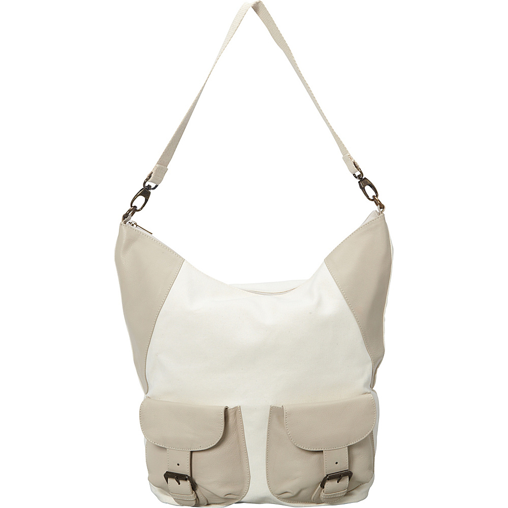 Sharo Leather Bags Large Canvas and Leather Tote Shoulder Bag White Beige Two Tone Sharo Leather Bags Fabric Handbags