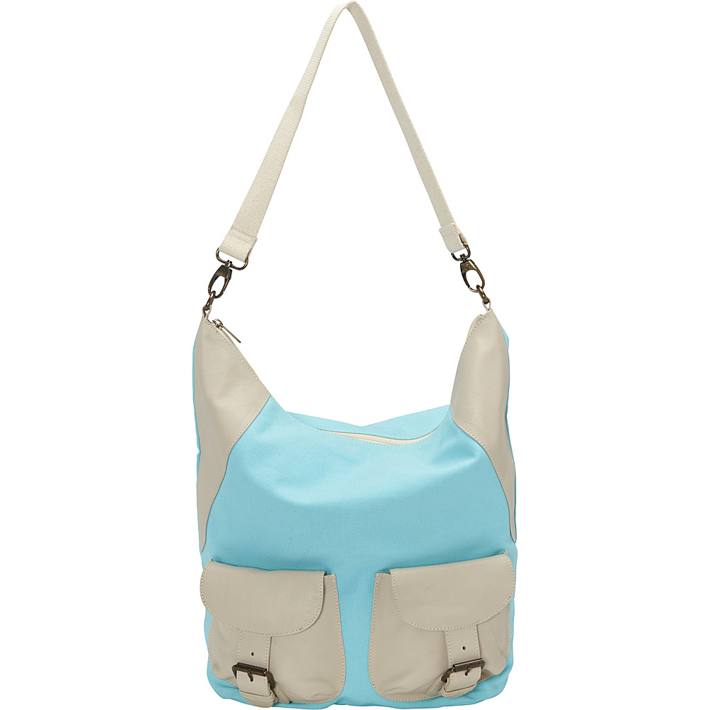 Sharo Leather Bags Large Canvas and Leather Tote Shoulder Bag Turquoise Beige Two Tone Sharo Leather Bags Fabric Handbags