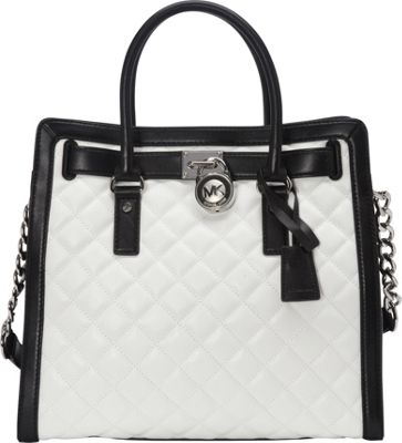 MICHAEL Michael Kors Hamilton Quilted NS Tote Optic White/Black - MICHAEL Michael Kors Designer Handbags