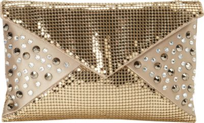 Whiting and Davis Sparkling Envelope Clutch Gold - Whiting and Davis Evening Bags