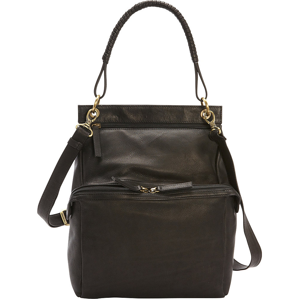 Derek Alexander N/S Two Zip Compartment Shoulder Bag Black - Derek Alexander Leather Handbags - Handbags, Leather Handbags