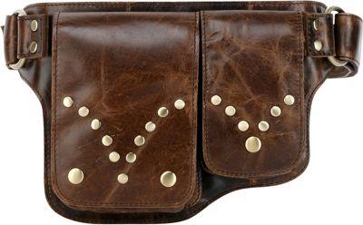 Vicenzo Leather Adonis S Leather Waist Bag Fanny Pack Brown - Vicenzo Leather Waist Packs
