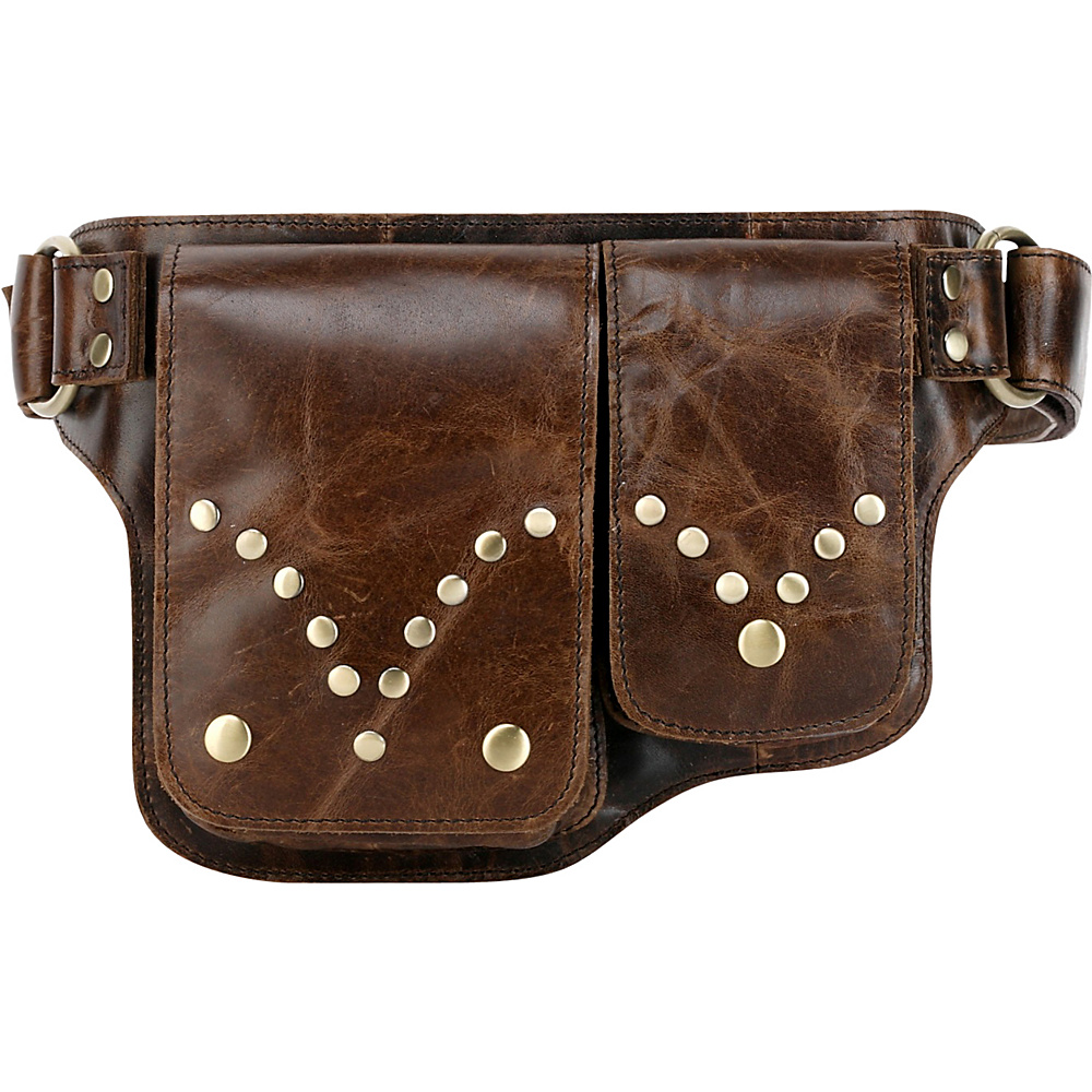 Vicenzo Leather Adonis S Leather Waist Bag Fanny Pack Brown Vicenzo Leather Waist Packs